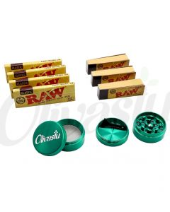 4 x Raw 1 1/4 + 3 x Roach Tips + Metal 4 Part Grinder Gift Set