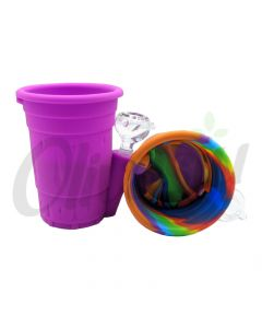 Silicone Bubble Cup Water Pipe Bong with Glass Bowl & Lid