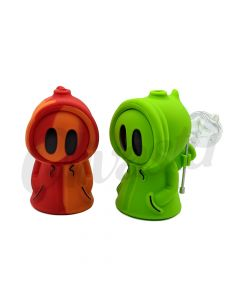 Silicone Ghost Smoking Pipe with Glass Bowl & Tool